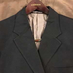 Perry Ellis Solid Black Blazer Sport Coat 44R